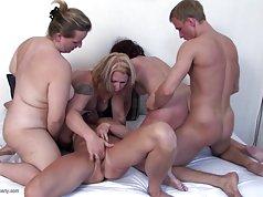 Lucky boy fucks 4 mature not his moms in da house